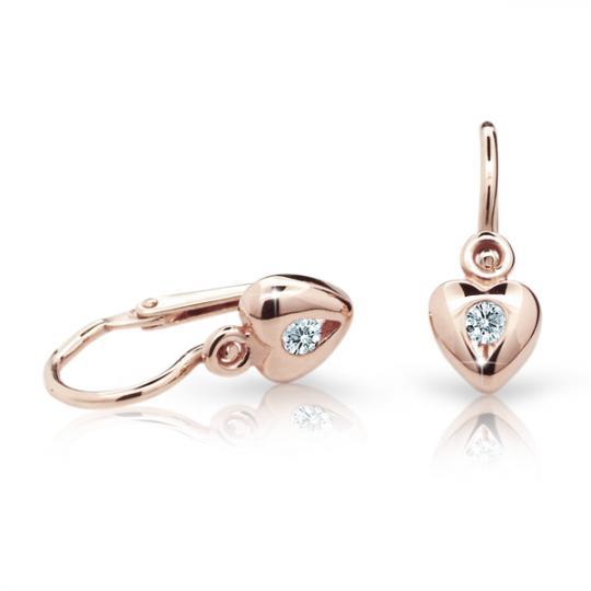 Baby earrings Danfil Hearts C1556 Rose gold, White, Front backs