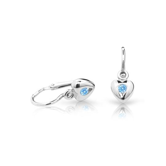 Baby earrings Danfil Hearts C1556 White gold, Arctic Blue, Front backs