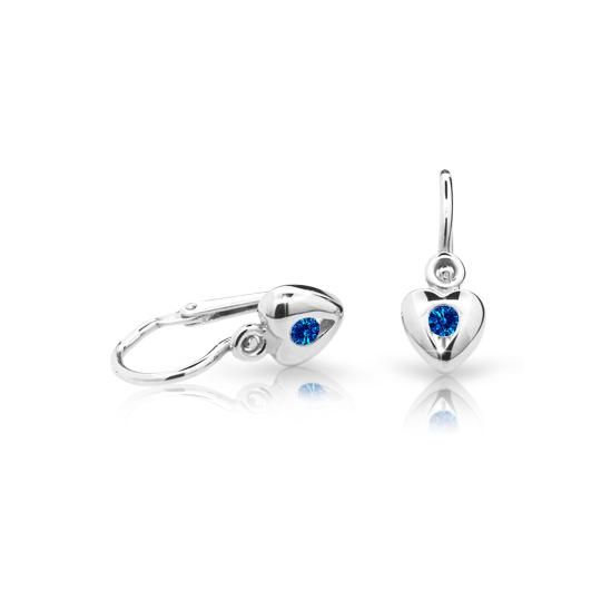 Baby earrings Danfil Hearts C1556 White gold, Dark Blue, Front backs