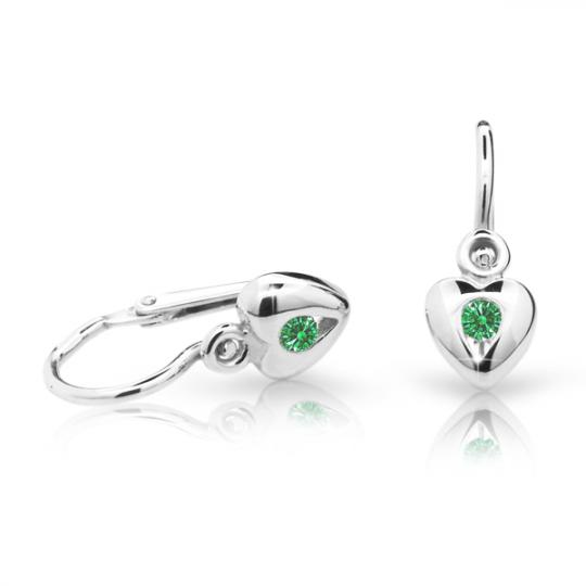 Baby earrings Danfil Hearts C1556 White gold, Emerald Green, Front backs