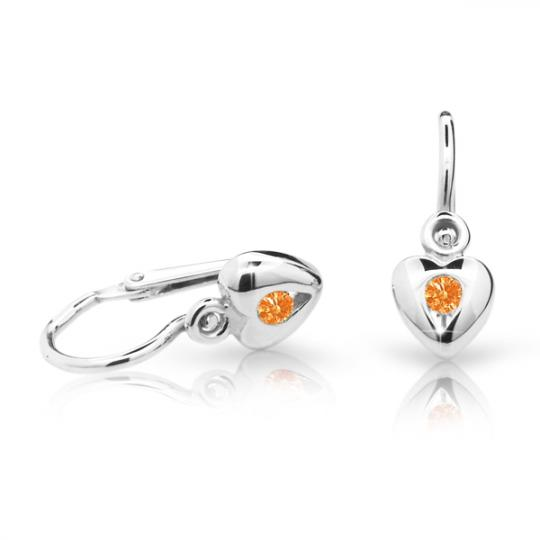 Baby earrings Danfil Hearts C1556 White gold, Orange, Front backs