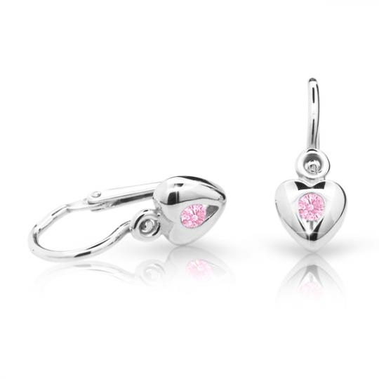 Baby earrings Danfil Hearts C1556 White gold, Pink, Front backs