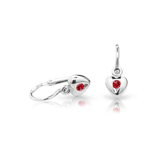 Baby earrings Danfil Hearts C1556 White gold, Ruby Dark, Front backs