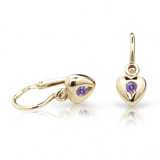 Baby earrings Danfil Hearts C1556 Yellow gold, Amethyst, Front backs