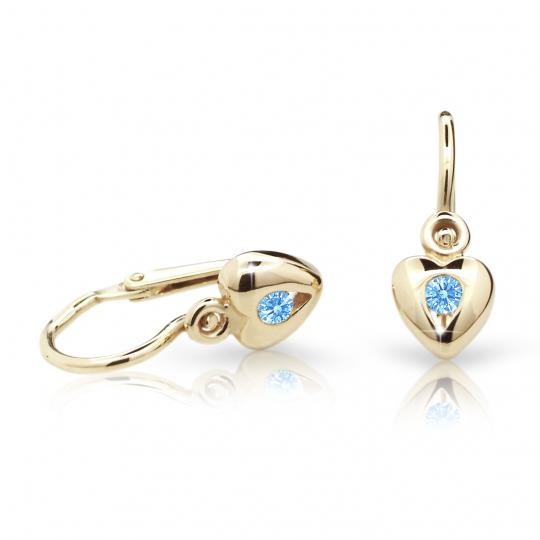 Baby earrings Danfil Hearts C1556 Yellow gold, Arctic Blue, Front backs