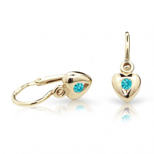 Baby earrings Danfil Hearts C1556 Yellow gold, Mint Green, Front backs