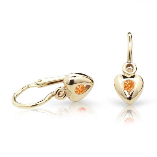 Baby earrings Danfil Hearts C1556 Yellow gold, Orange, Front backs