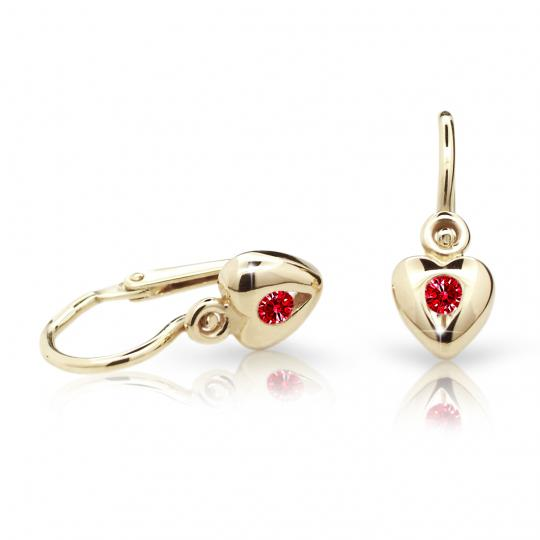 Baby earrings Danfil Hearts C1556 Yellow gold, Ruby Dark, Front backs