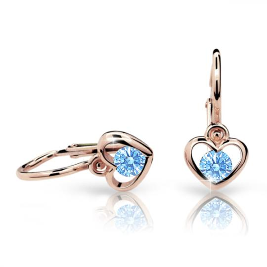 Baby earrings Danfil Hearts C1943 Rose gold, Arctic Blue, Front backs