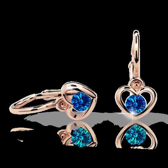 Baby earrings Danfil Hearts C1943 Rose gold, Dark Blue, Front backs