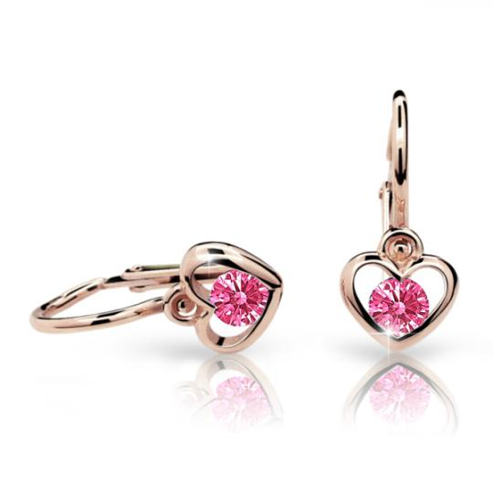 Baby earrings Danfil Hearts C1943 Rose gold, Tcf Red, Front backs
