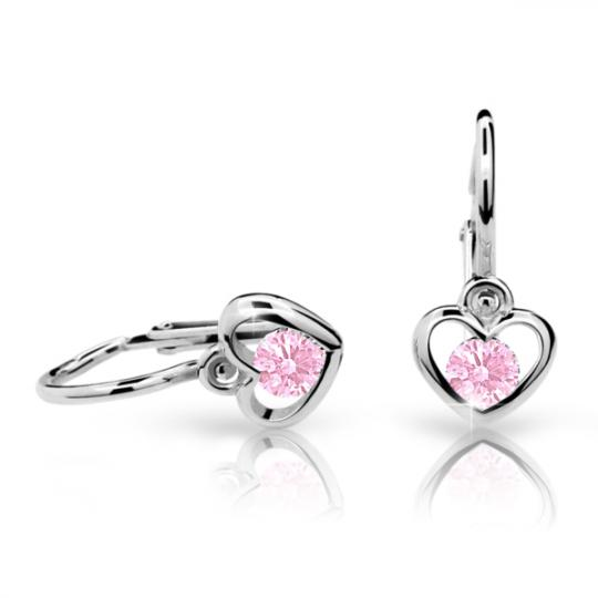 Baby earrings Danfil Hearts C1943 White gold, Pink, Front backs
