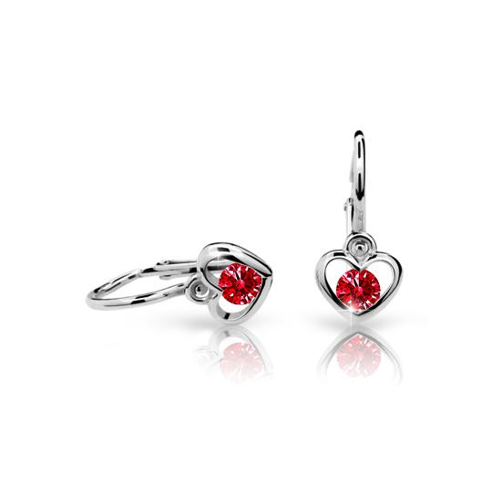Baby earrings Danfil Hearts C1943 White gold, Ruby Dark, Front backs