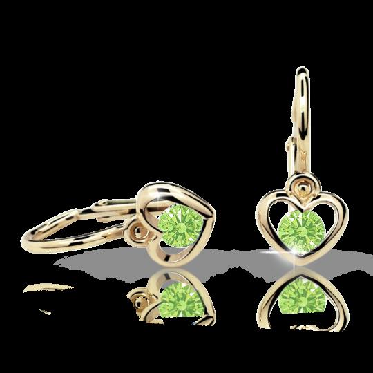 Baby earrings Danfil Hearts C1943 Yellow gold, Peridot Green, Front backs
