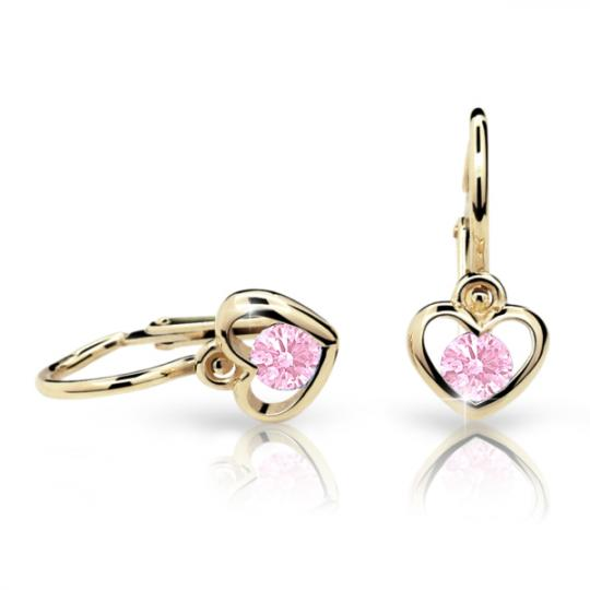 Baby earrings Danfil Hearts C1943 Yellow gold, Pink, Front backs