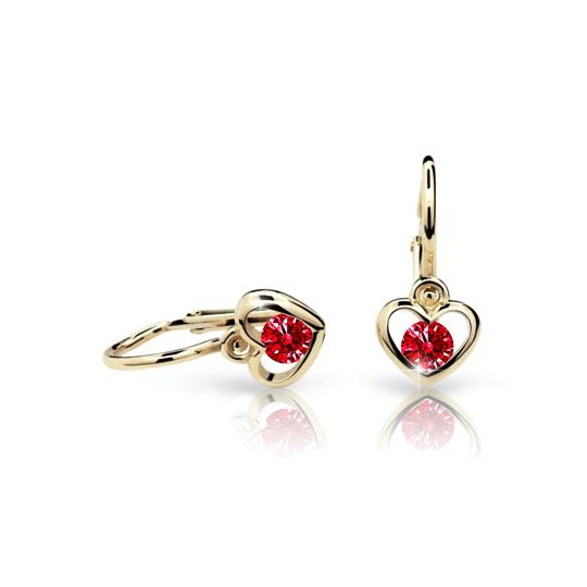 Baby earrings Danfil Hearts C1943 Yellow gold, Ruby Dark, Front backs