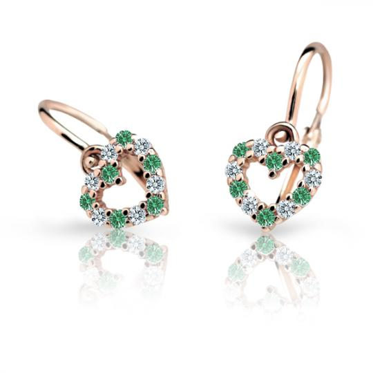 Baby earrings Danfil Hearts C2157 Rose gold, Emerald Green, Front backs