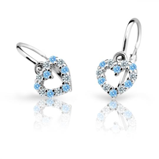 Baby earrings Danfil Hearts C2157 White gold, Arctic Blue, Front backs