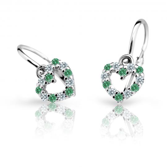 Baby earrings Danfil Hearts C2157 White gold, Emerald Green, Front backs