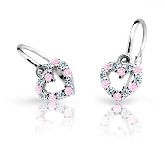 Baby earrings Danfil Hearts C2157 White gold, Pink, Front backs