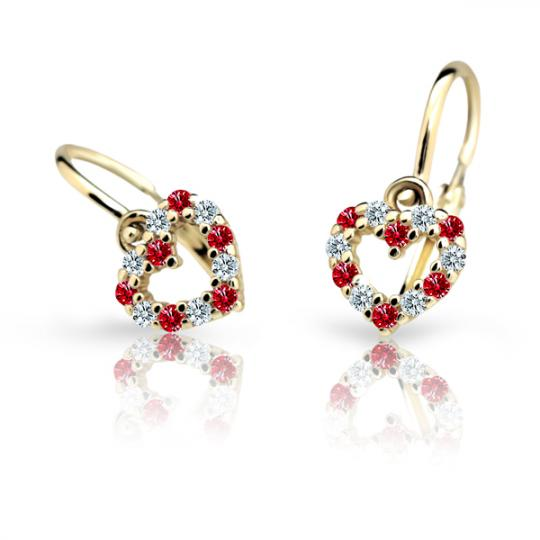 Baby earrings Danfil Hearts C2157 Yellow gold, Ruby Dark, Front backs