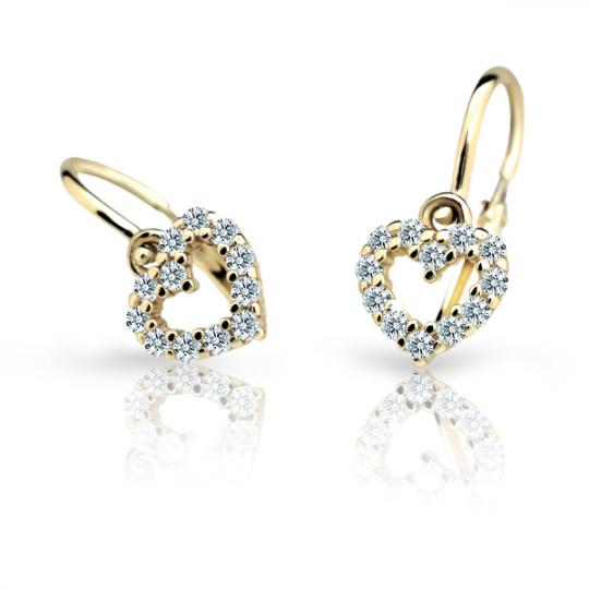 Baby earrings Danfil Hearts C2157 Yellow gold, White, Front backs