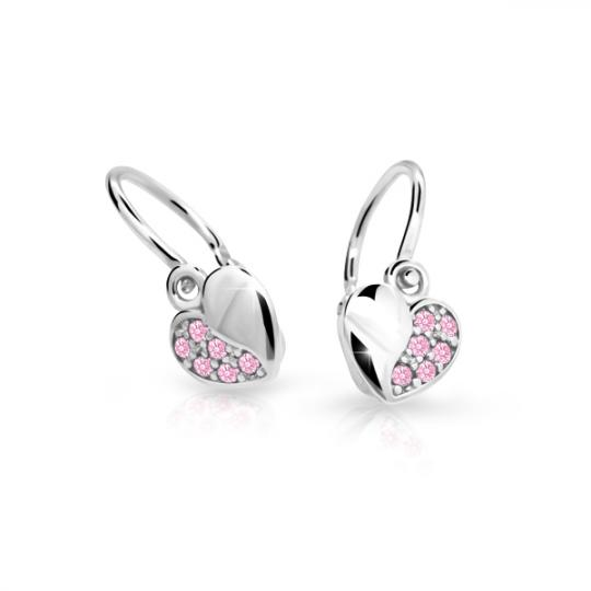 Baby earrings Danfil Hearts C2160 White gold, Pink, Front backs