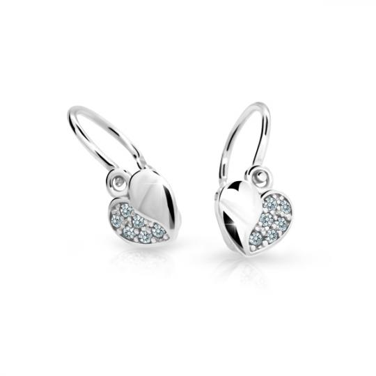 Baby earrings Danfil Hearts C2160 White gold, White, Front backs