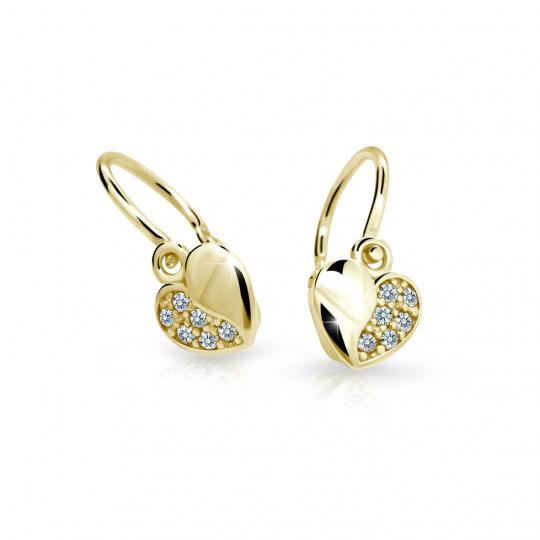 Baby earrings Danfil Hearts C2160 Yellow gold, White, Front backs