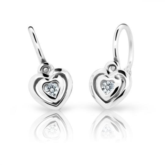 Baby earrings Danfil Hearts C2177 White gold, White, Front backs