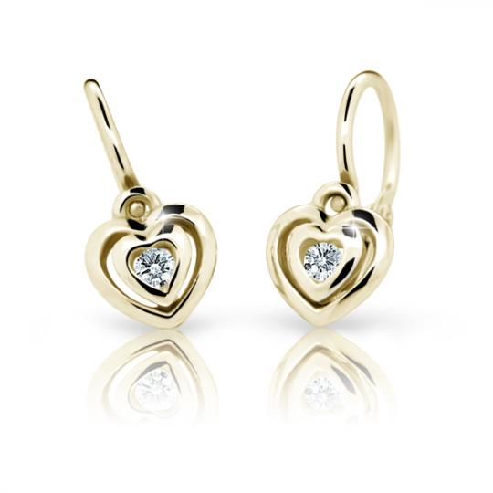 Baby earrings Danfil Hearts C2177 Yellow gold, White, Front backs