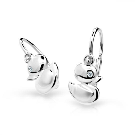 Baby earrings Danfil Little ducks C1954 White gold, White, Front backs