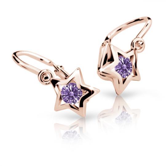 Baby earrings Danfil Stars C1942 Rose gold, Amethyst, Front backs