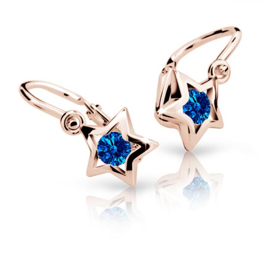 Baby earrings Danfil Stars C1942 Rose gold, Dark Blue, Front backs
