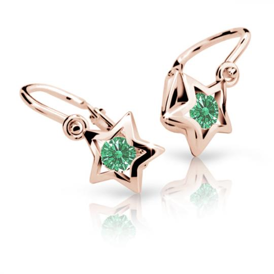 Baby earrings Danfil Stars C1942 Rose gold, Emerald Green, Front backs