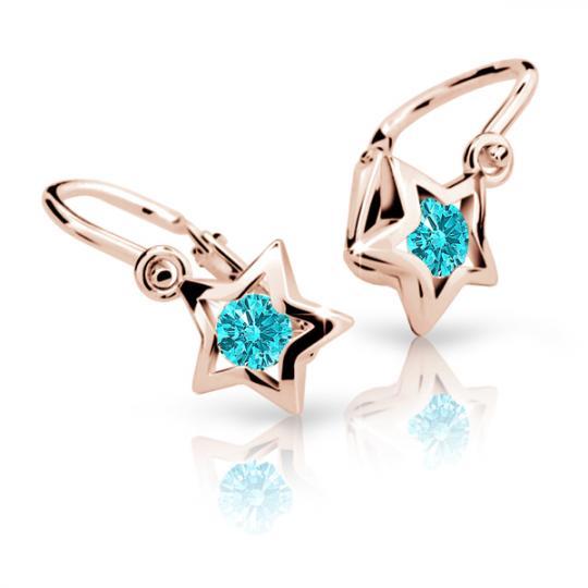 Baby earrings Danfil Stars C1942 Rose gold, Mint Green, Front backs