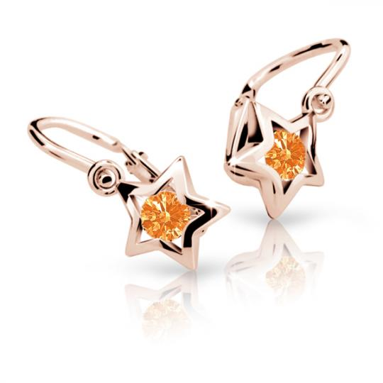 Baby earrings Danfil Stars C1942 Rose gold, Orange, Front backs