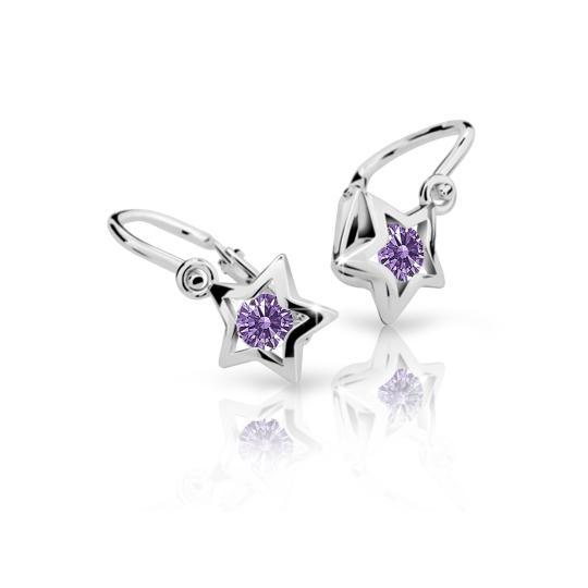 Baby earrings Danfil Stars C1942 White gold, Amethyst, Front backs