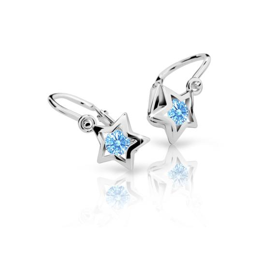 Baby earrings Danfil Stars C1942 White gold, Arctic Blue, Front backs