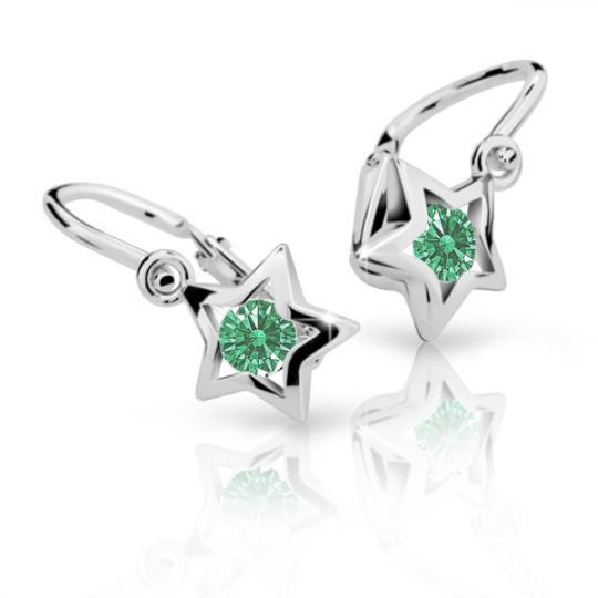 Baby earrings Danfil Stars C1942 White gold, Emerald Green, Front backs
