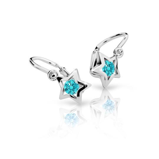 Baby earrings Danfil Stars C1942 White gold, Mint Green, Front backs