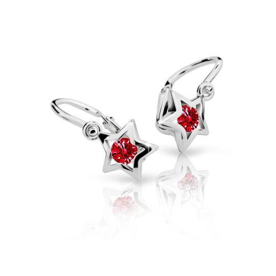 Baby earrings Danfil Stars C1942 White gold, Ruby Dark, Front backs