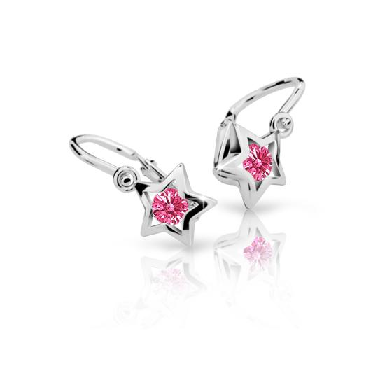 Baby earrings Danfil Stars C1942 White gold, Tcf Red, Front backs