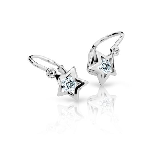Baby earrings Danfil Stars C1942 White gold, White, Front backs