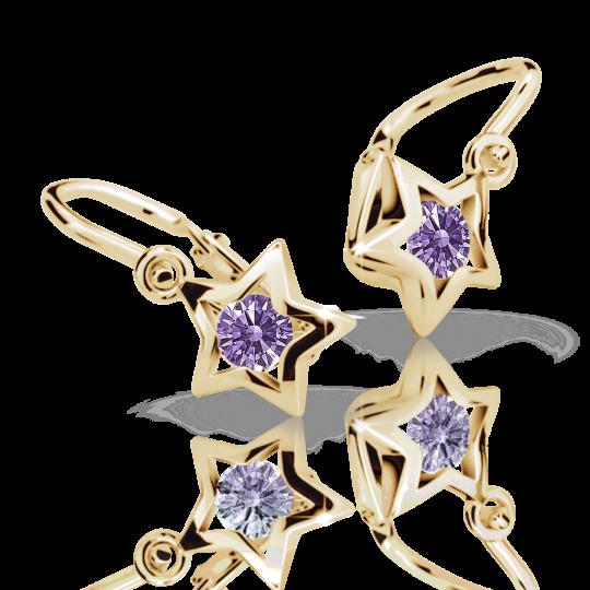 Baby earrings Danfil Stars C1942 Yellow gold, Amethyst, Front backs