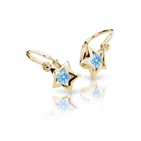 Baby earrings Danfil Stars C1942 Yellow gold, Arctic Blue, Front backs