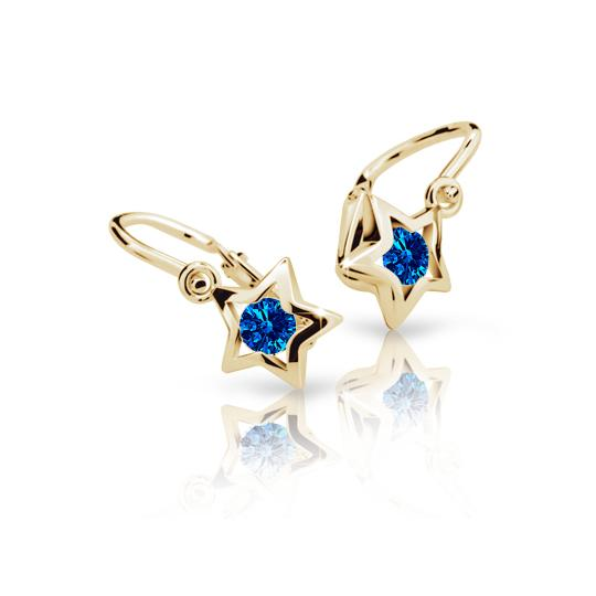 Baby earrings Danfil Stars C1942 Yellow gold, Dark Blue, Front backs