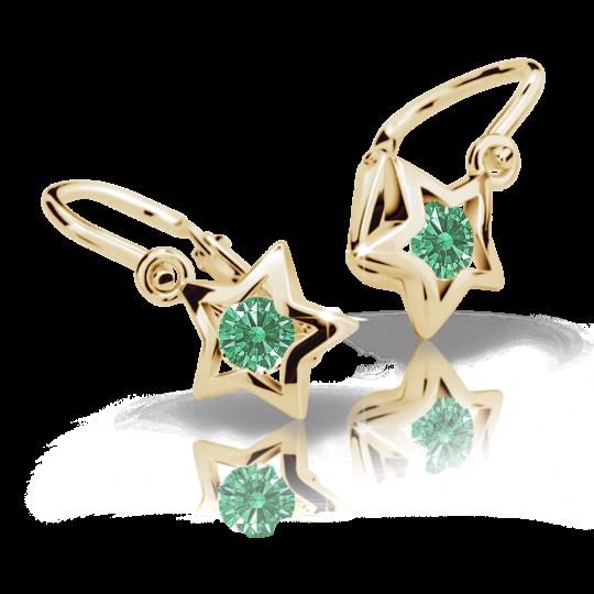 Baby earrings Danfil Stars C1942 Yellow gold, Emerald Green, Front backs