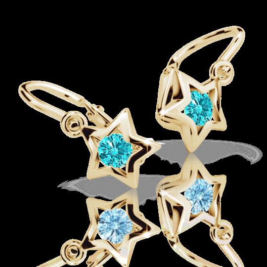 Baby earrings Danfil Stars C1942 Yellow gold, Mint Green, Front backs