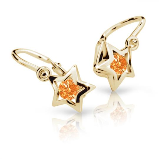 Baby earrings Danfil Stars C1942 Yellow gold, Orange, Front backs